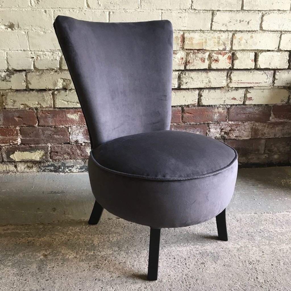 Superb Mid Century 1950S Original Cocktail Chair Reupholstered In Charcoal Velvet Gmtry Best Dining Table And Chair Ideas Images Gmtryco