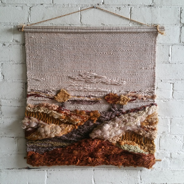 Macrame Country Scene Knitted Wall Hanging Signed