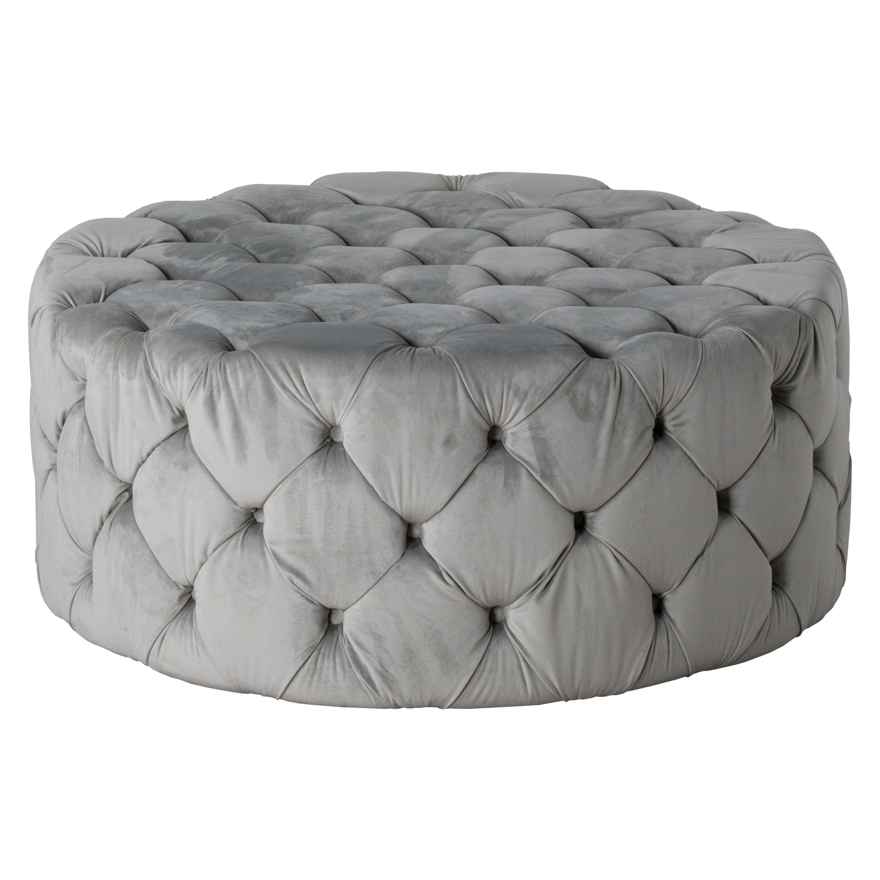 Free Shipping Round Grey Velvet Turfted Ottoman Footstool Low Coffee Table