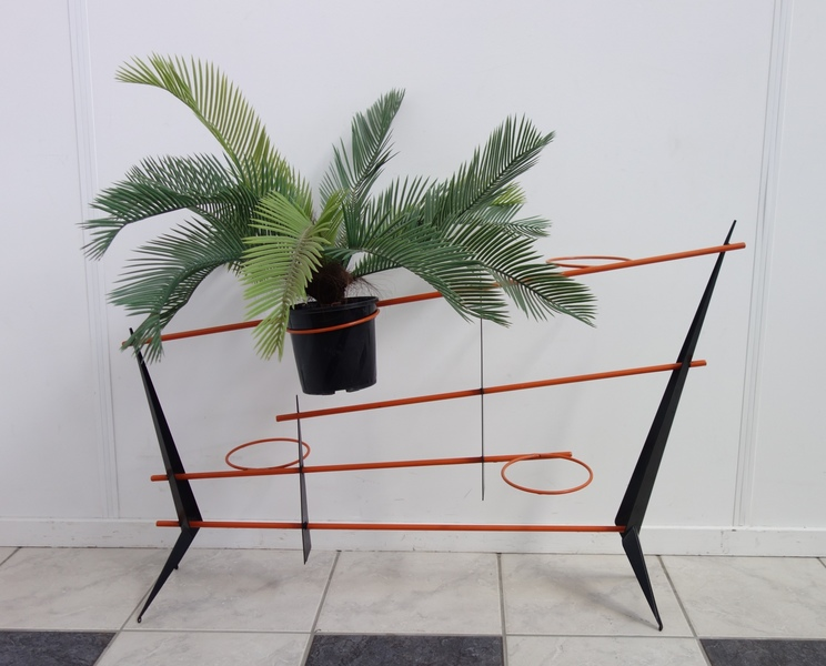 1958 Ultra Rare Plant Stand In Orange And Black
