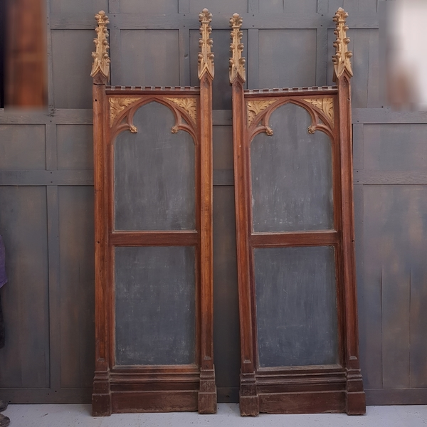 Pair Of Very Special Victorian Gothic Carved Oak And Metal Reredos Side Panels / Notice Boards
