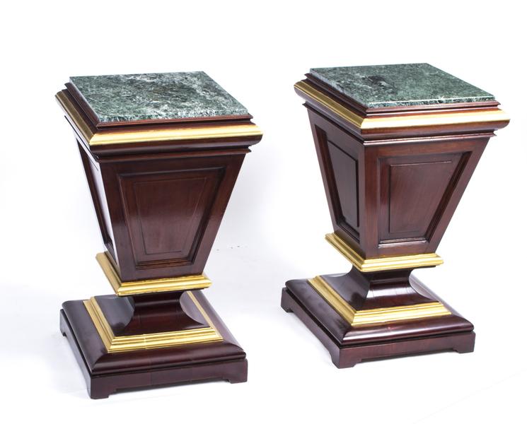Antique Pair Of Victorian Mahogany & Marble Pedestals C1870 photo 1