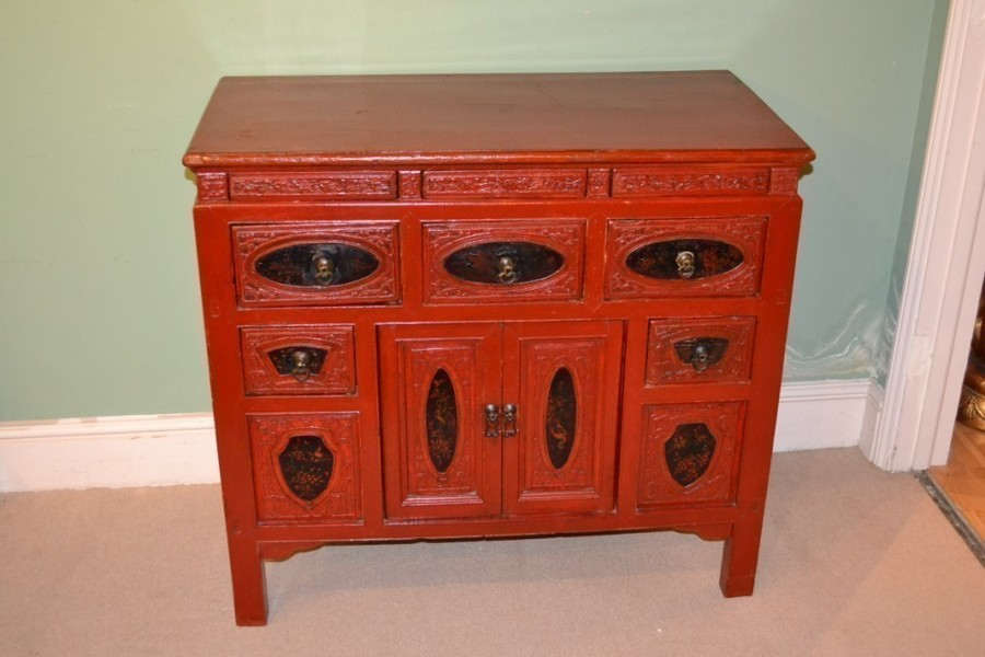 Antique Chinese Red Lacquered Chest Sideboard C.1900