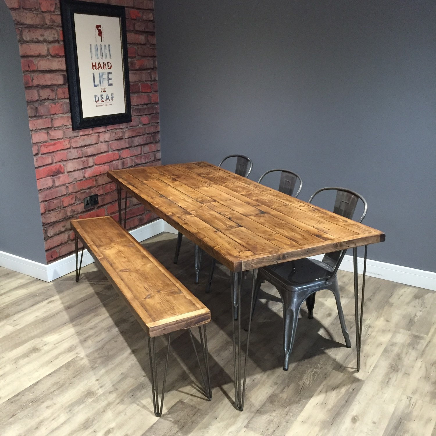 Remarkable Reclaimed Industrial Pallet Wood Dining Table 200Cm 1 Matching Bench With Metal Hairpin Legs Pabps2019 Chair Design Images Pabps2019Com