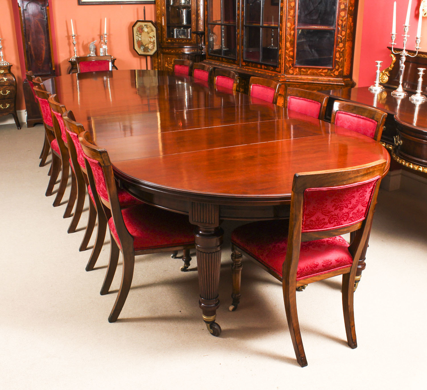 Antique Victorian Circular Extending Dining Table 14 Chairs 19th C