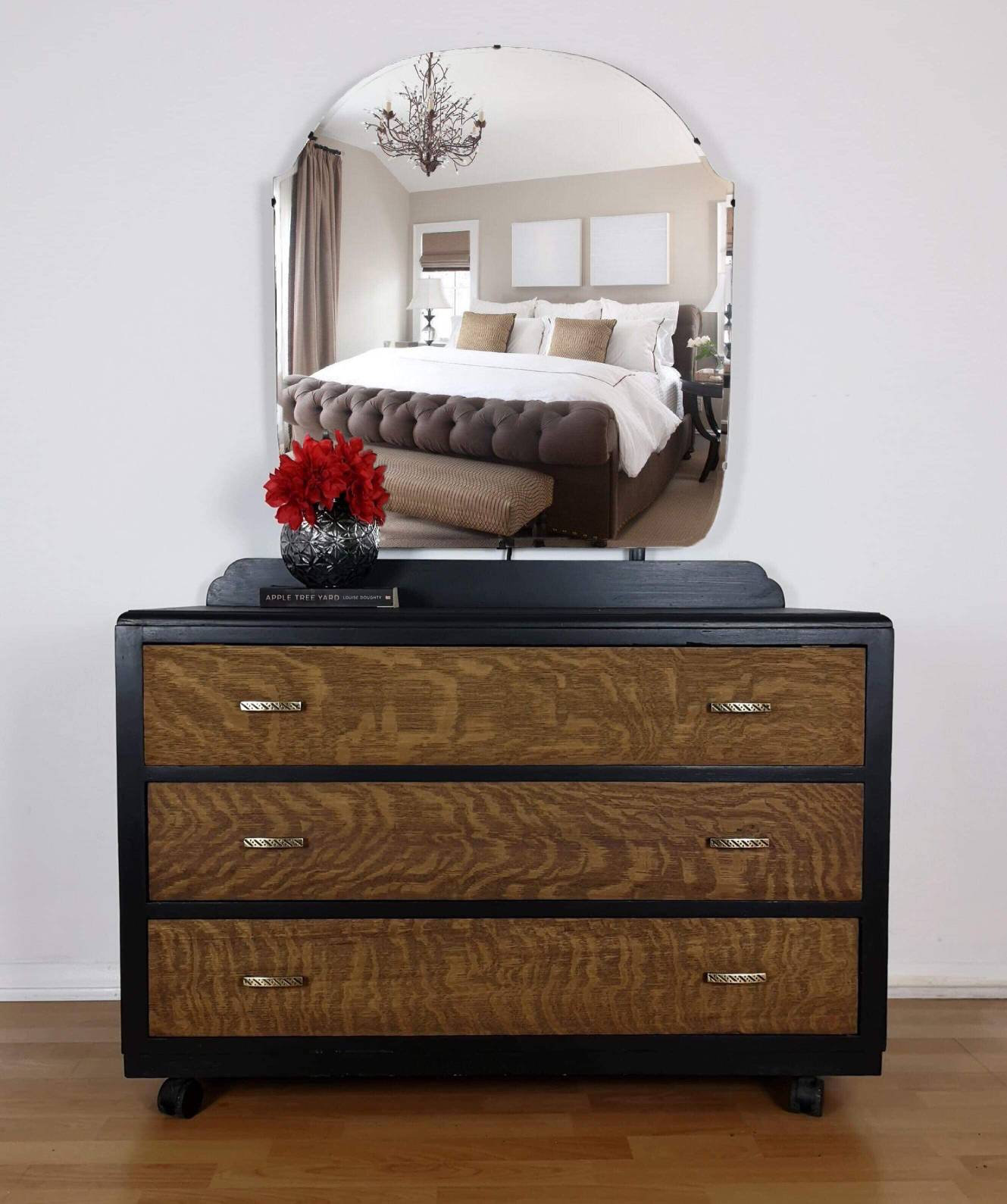 Black And Tiger Oak Dressing Table With Mirror