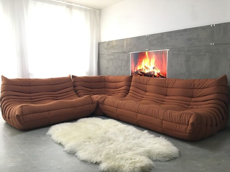Genuine Design Brown Orange Togo Sofa Ligne Roset Michel Ducaroy Set Of 3