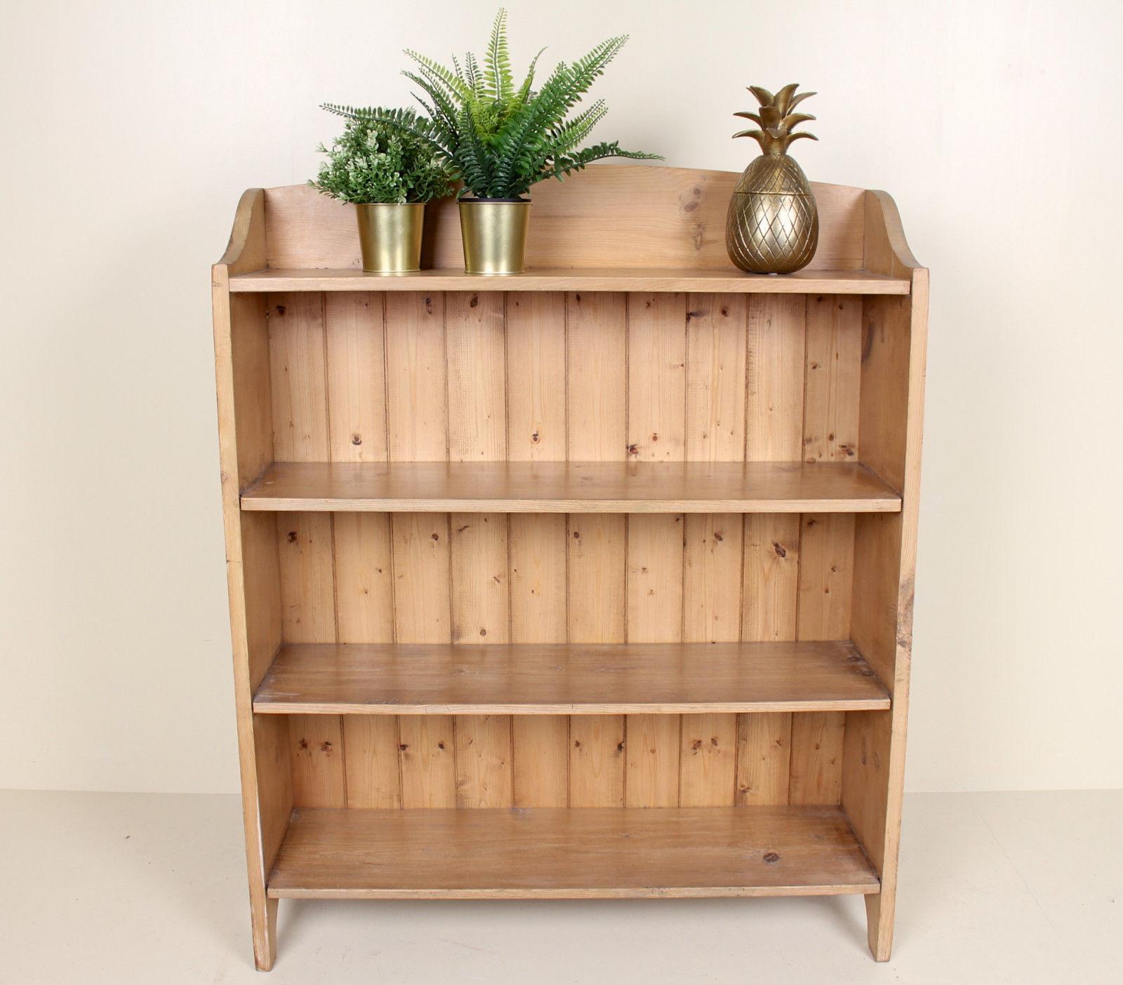 Antique Vintage Bookcase Arts Crafts Pine Open Bookshelves Cabinet Rustic