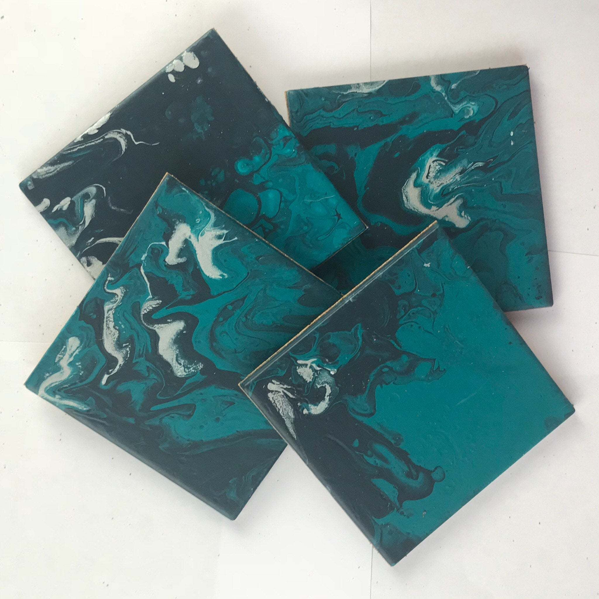 Set Of 4 Ceramic Coasters, Handmade With Acrylic Paint Pour In Teals, Made  To Order Requests Taken, Matching Set Of Coasters