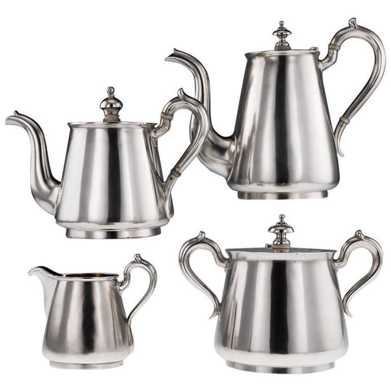 Antique Imperial Russian Solid Silver Matched Tea And Coffee Set Circa 1872  1879