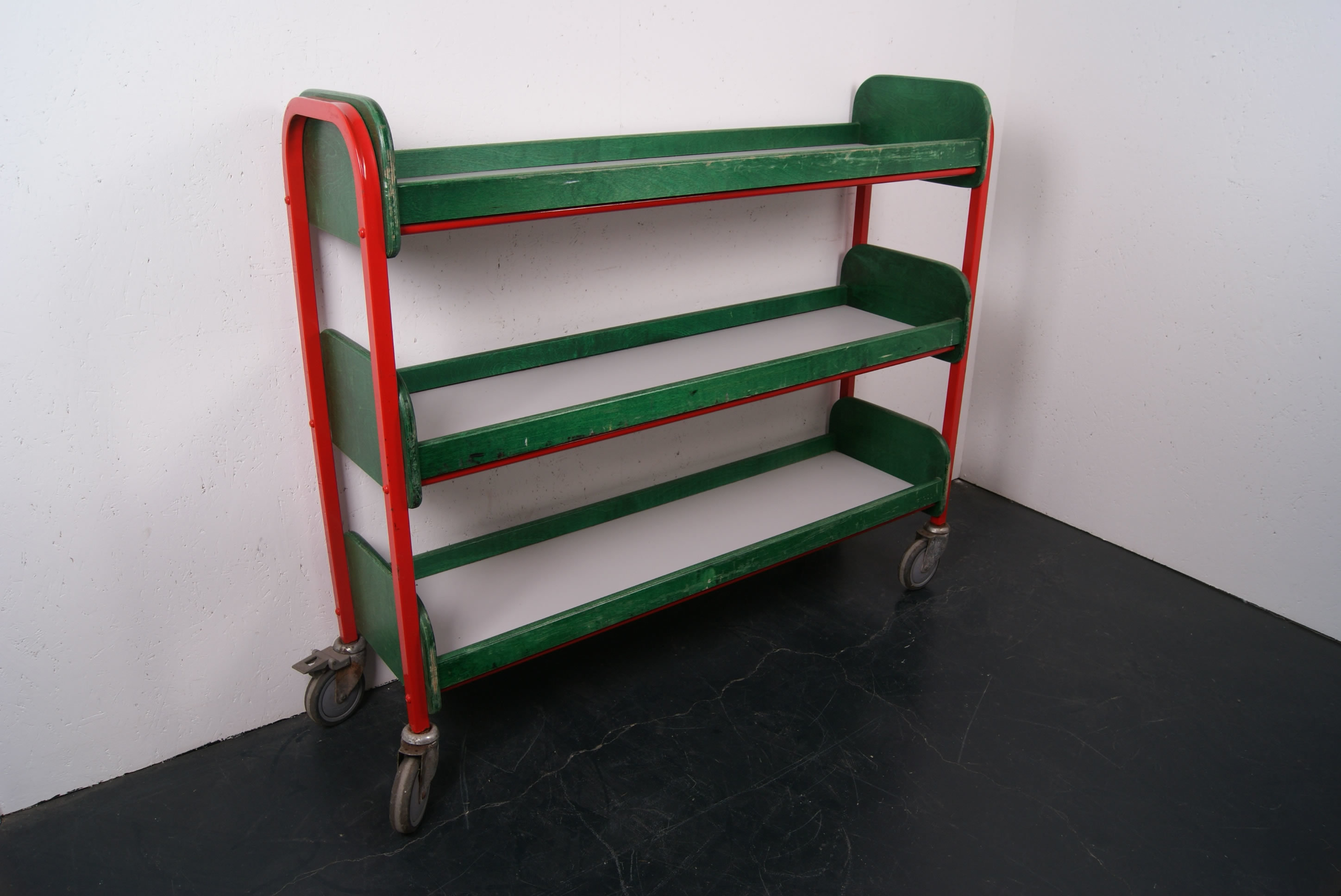 Children S Green And Red Storage Trolley On Wheels