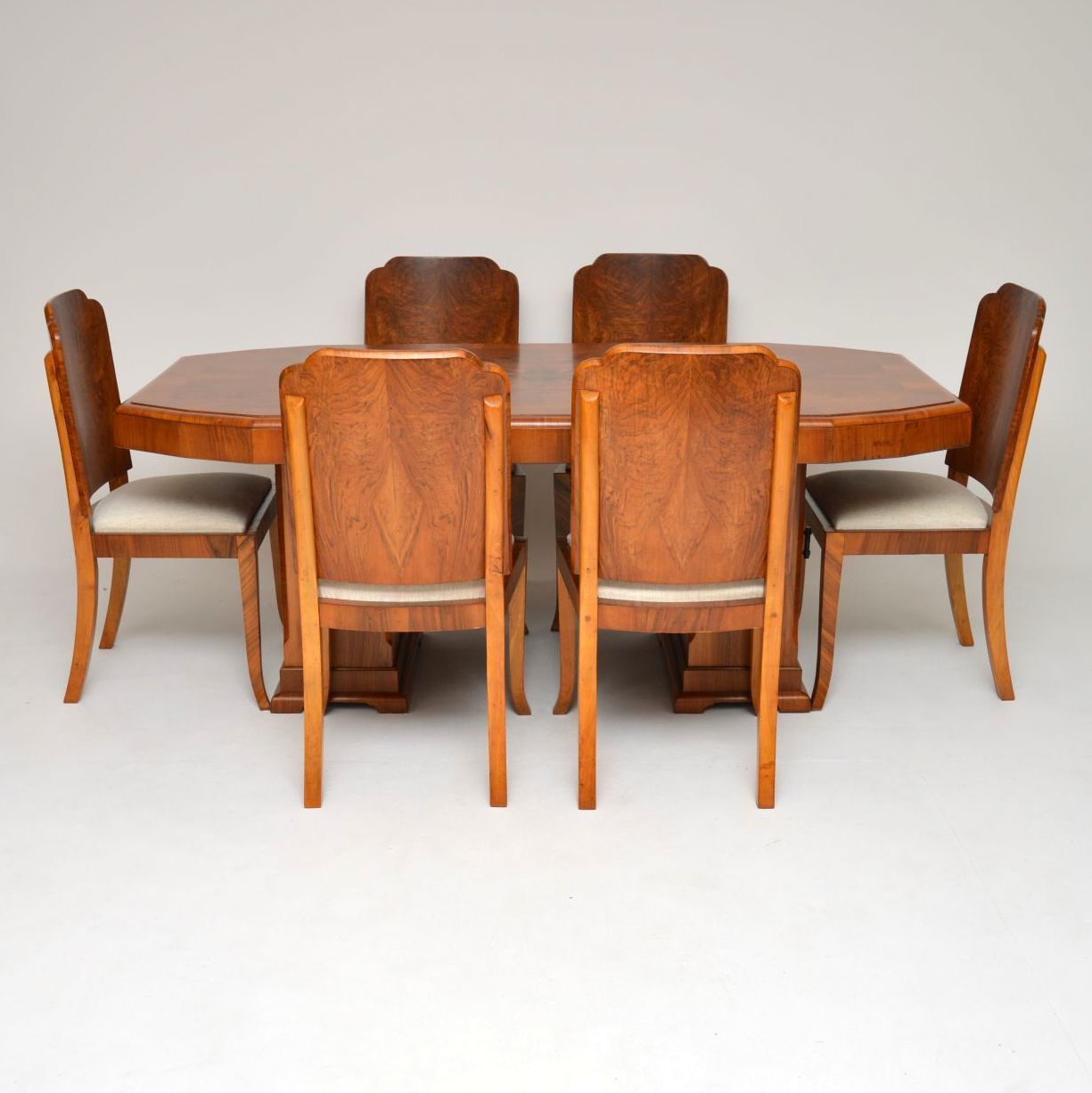 Peachy 1920S Original Art Deco Walnut Dining Table Chairs Cjindustries Chair Design For Home Cjindustriesco