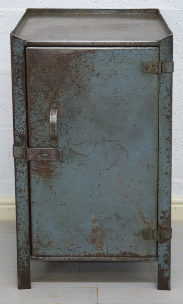 Mid Century Retro Industrial Blue Metal Cabinet photo 1