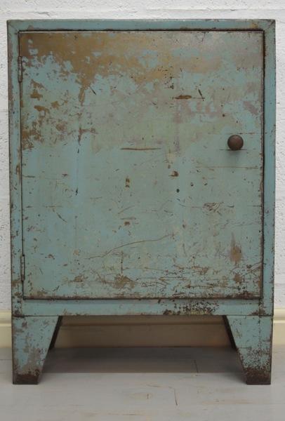Mid Century Retro Industrial Slim Blue Metal Cabinet photo 1