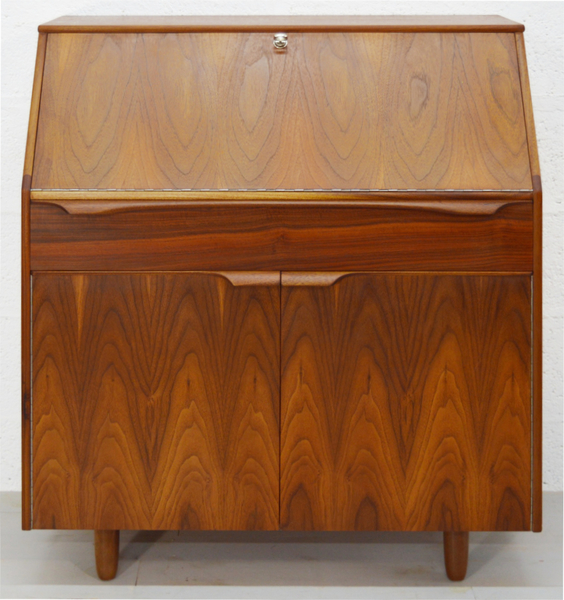 Mid Century Walnut And Rosewood Bureau By Sutcliffe – Todmorden