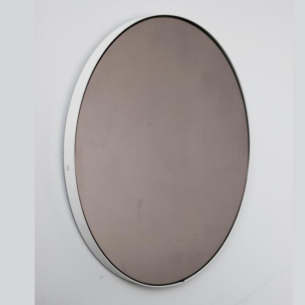 Bronze Orbis Round Mirror With White Frame 40cm 15 8