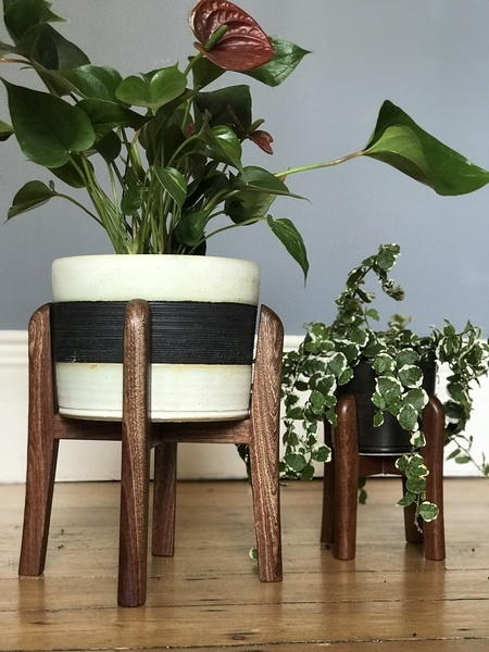 Medium Sized Mid Century Plant Stands In Oak, Sapele And Walnut