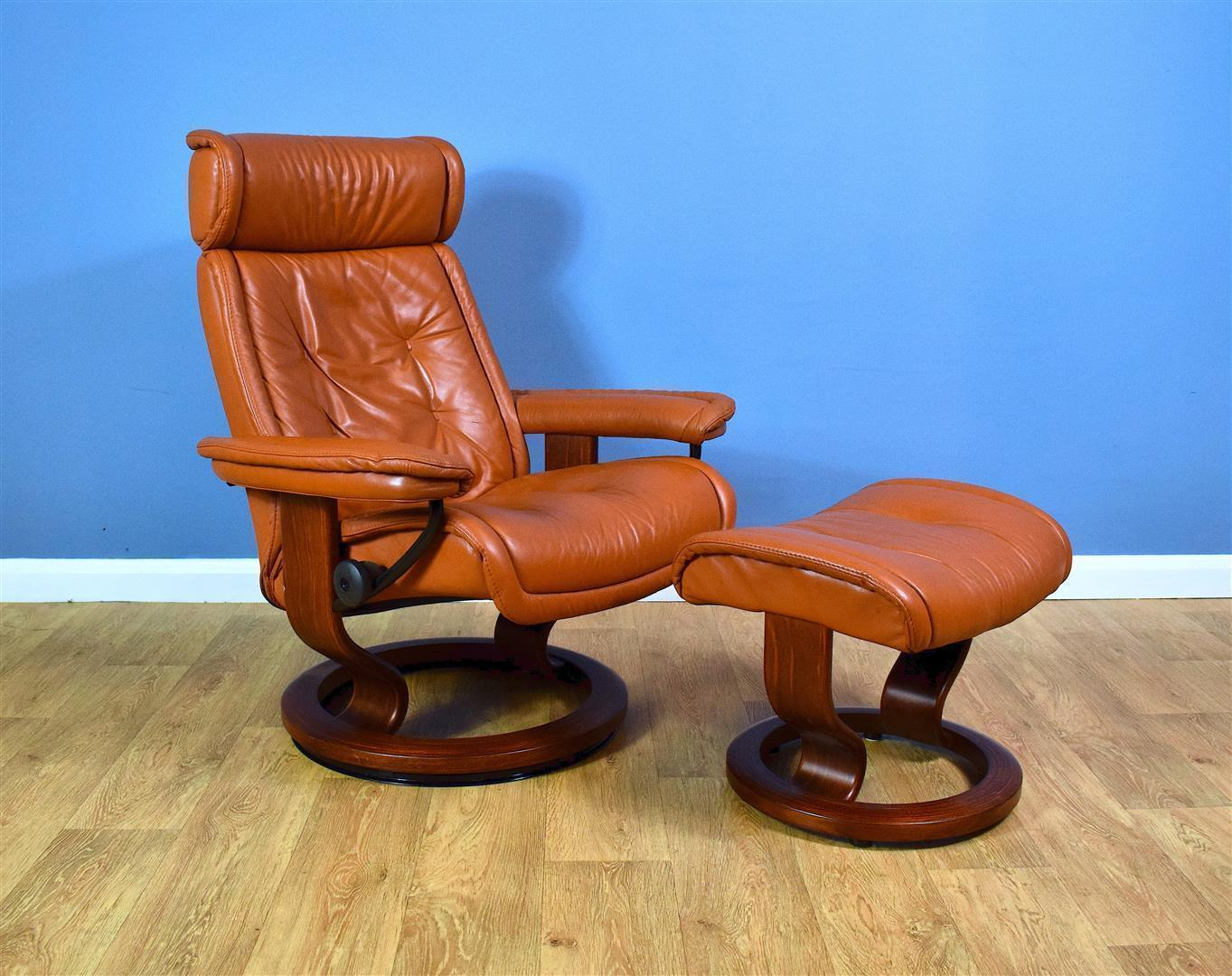 Image of: Mid Century Modern Norwegian Tan Leather Stressless Swivel Recliner Footstool Ekornes Stressless Vinterior