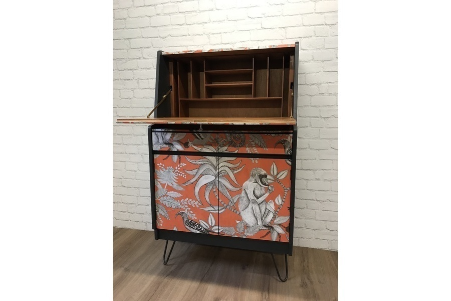 Vintage Mid Century Writing Desk Bureau With Hairpin Legs Grey Paint And Wallpaper