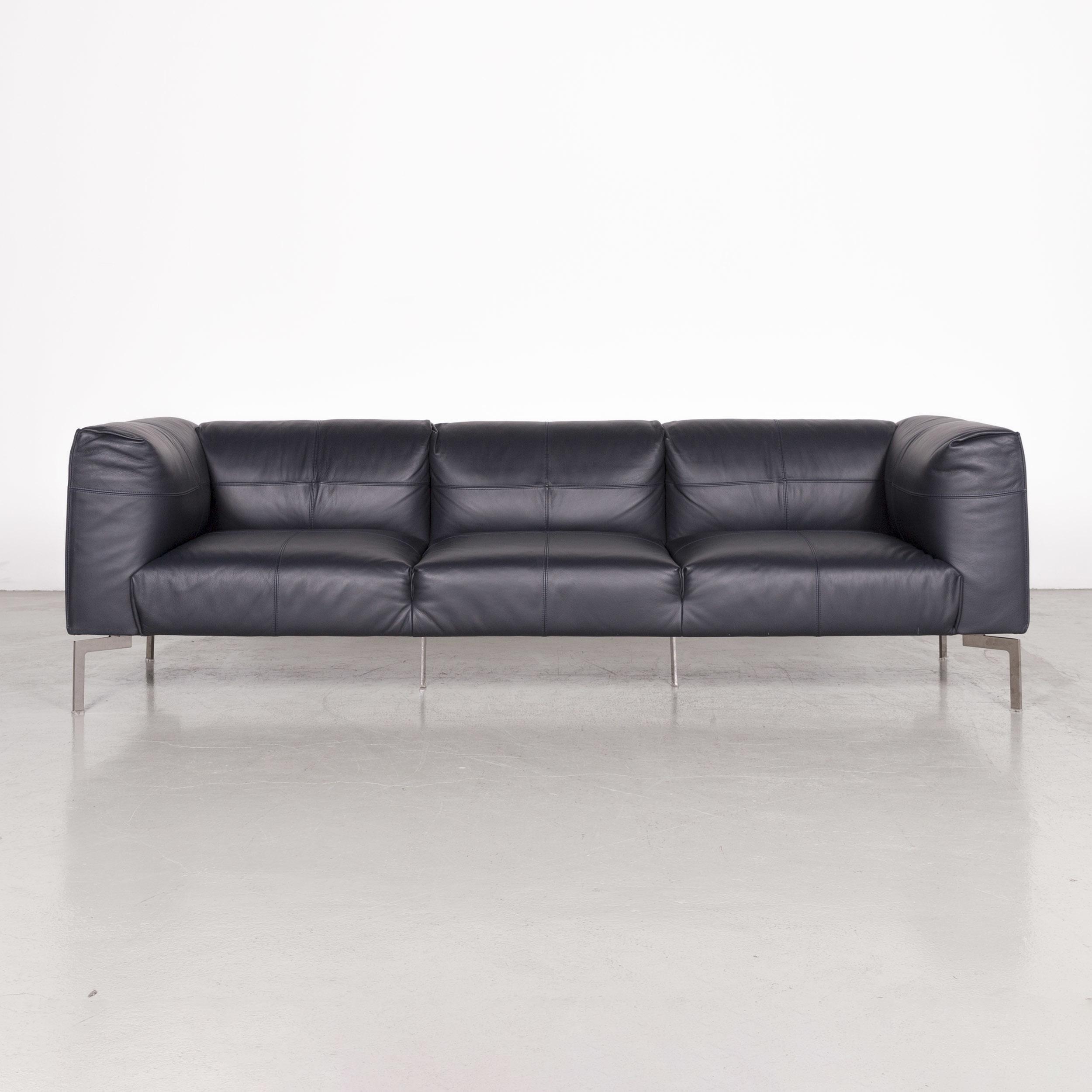 Poltrona Frau Bosforo.Poltrona Frau Bosforo Designer Leather Sofa Blue Genuine Leather By Sezgin Aksu And Silvia Suardi Genuine Leather Three Seater Couch