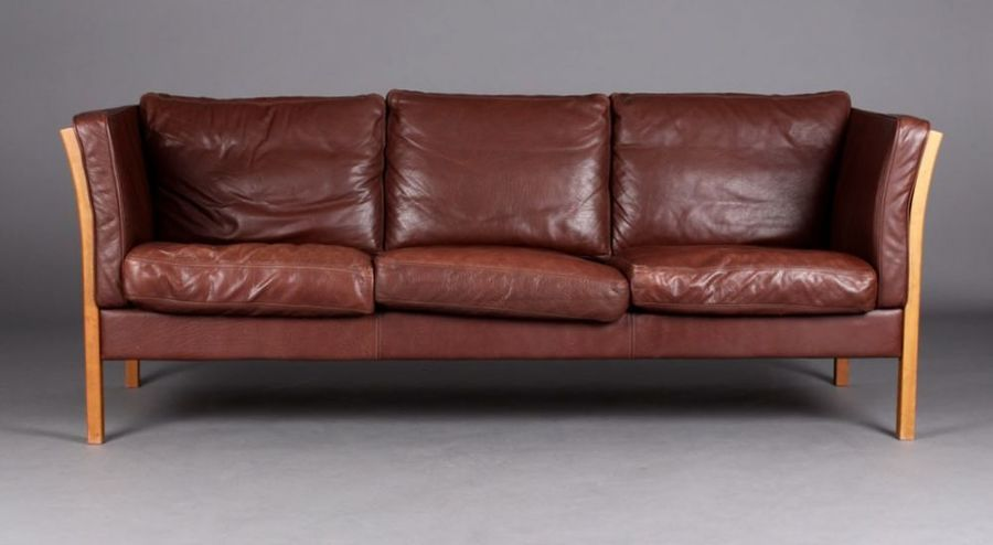 Danish Mogensen Style Leather Sofa, Great Colour photo 1