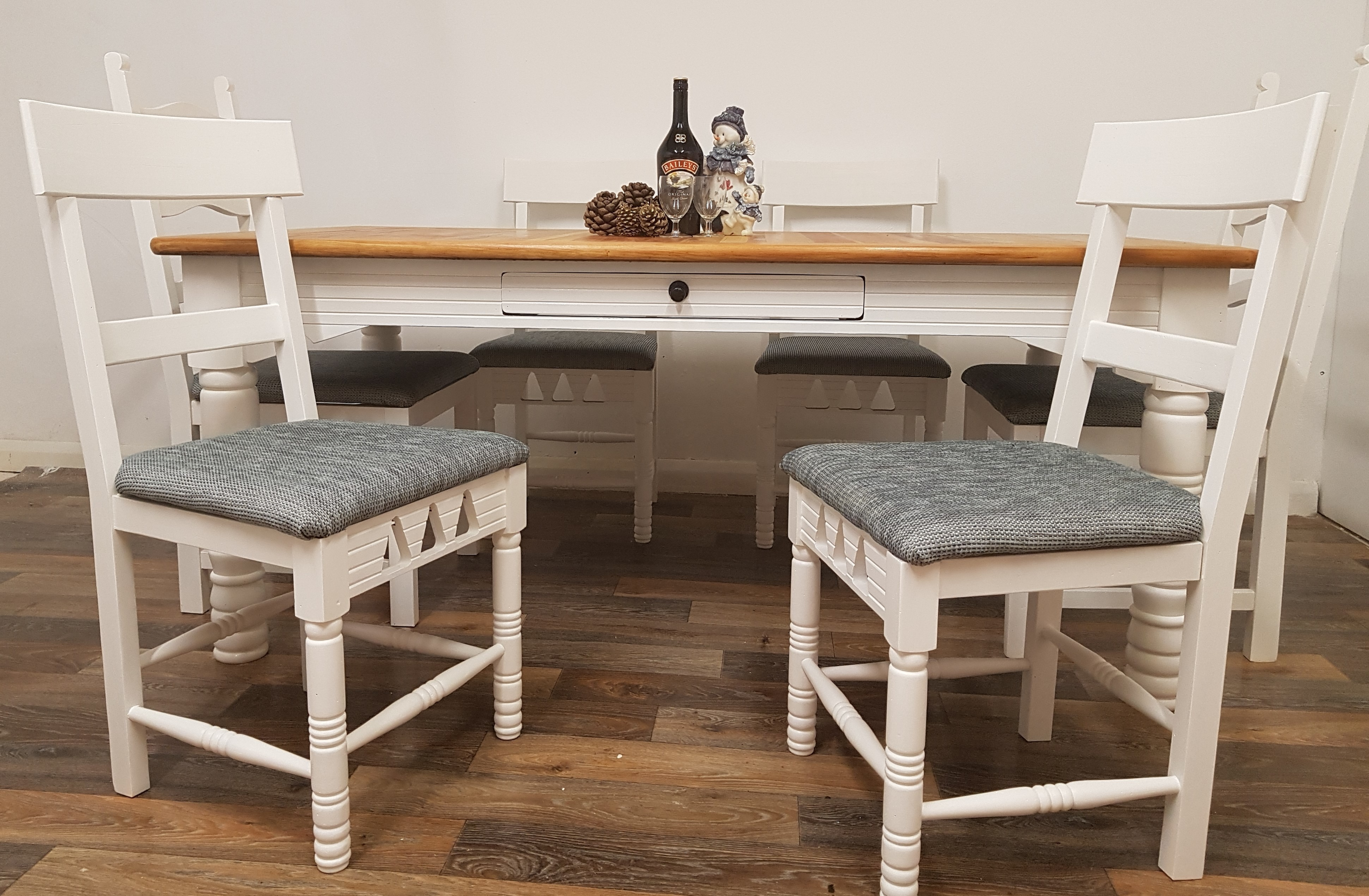 Refurbished 6 Seater Mexican Pine Farmhouse Dining Table With Re Upholstered Seats Rustic And Six Chairs Useful Drawer