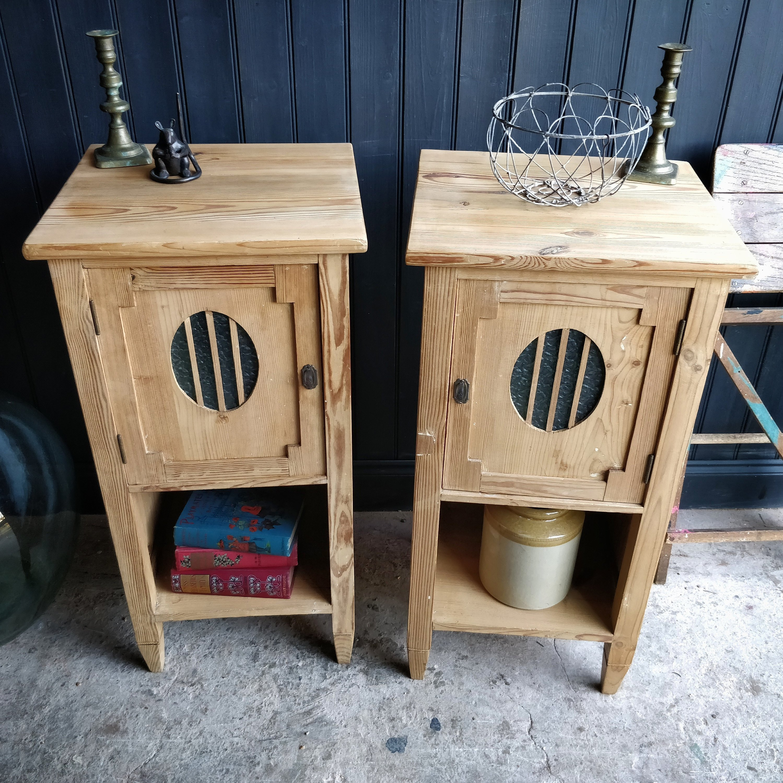 Pair Of Vintage Dutch Pine Bedside Lockers Pair Bedside Tables Pine Bedside Lockers Rustic Bedside Lockers Pine Nightstands