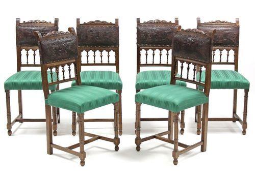 Antique Italian Dining Chairs Set Of Six Oak Leather Italian 19th Century