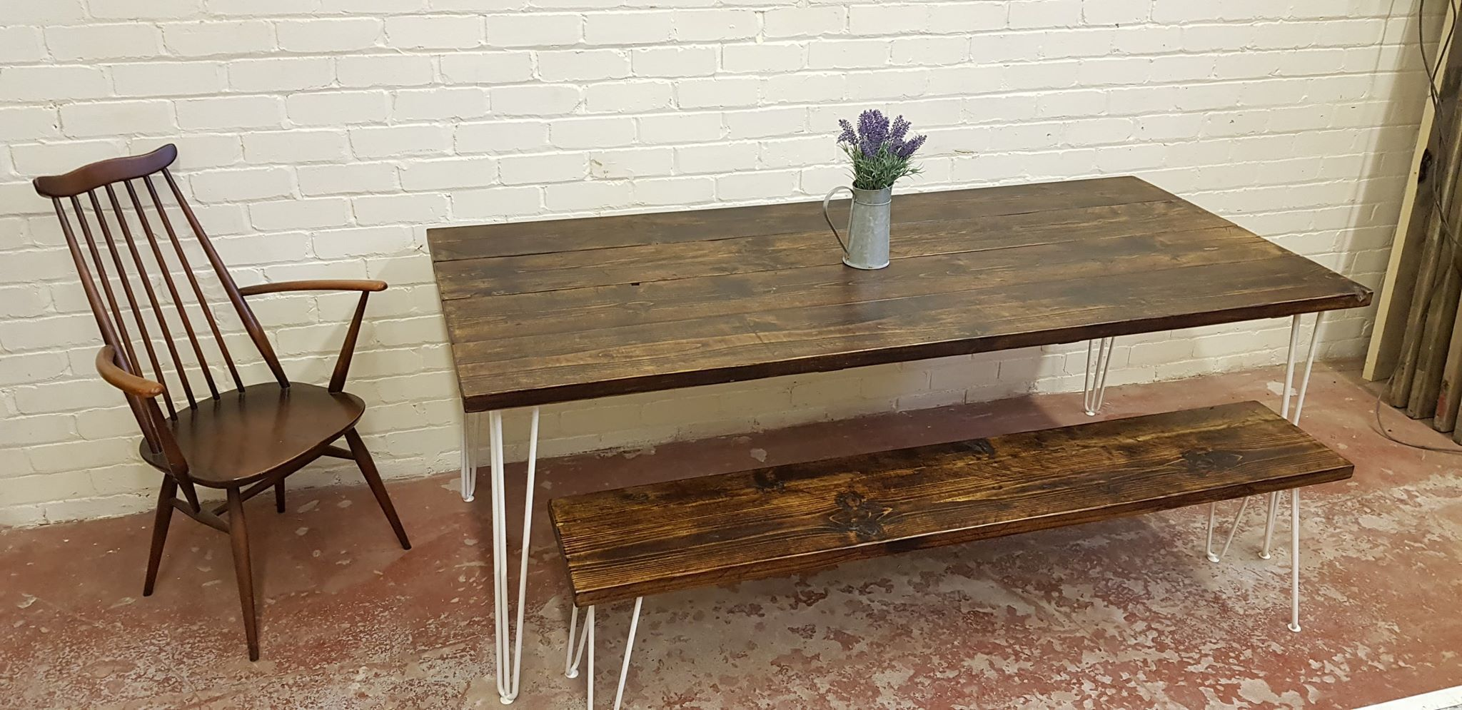 Tablo In Tudor Handmade Reclaimed Timber Dining Table Benches With Hairpin Legs