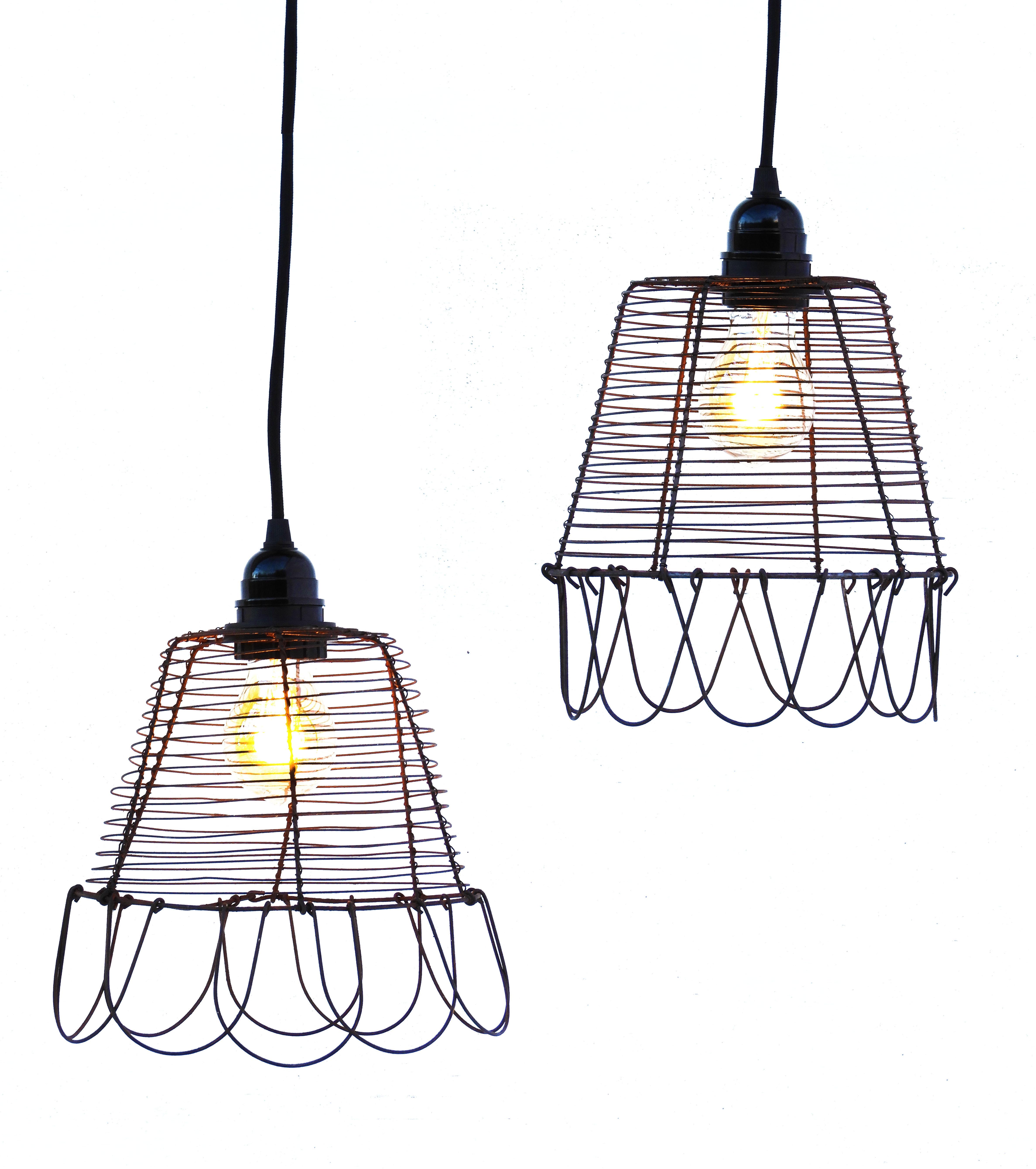 Pair Vintage French Pendant Lights Folk Art Wirework