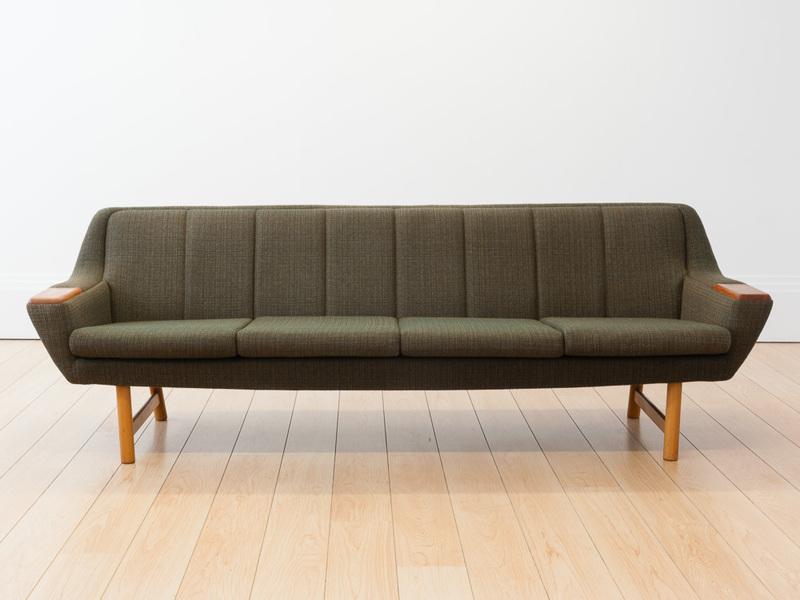 Norwegian Green Tweed & Teak 4 Seater Sofa photo 1