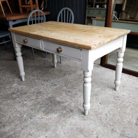Vintage Pine Kitchen Table 4 6 Seater Table Painted Antique Table Victorian Scrub Top Pine Kitchen Table Dining Table With Drawers