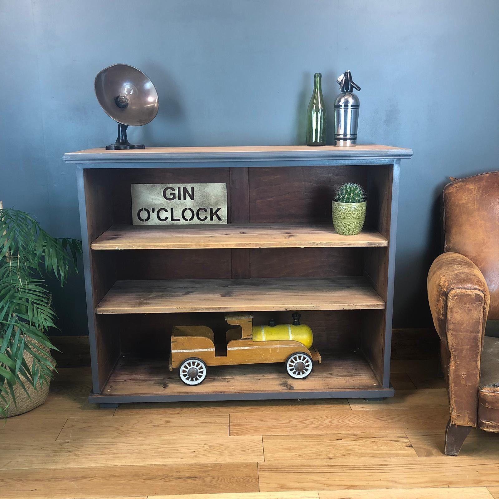 Rustic Painted Blue Grey Bookcase Shelves Shelving Storage Pine Mahogany