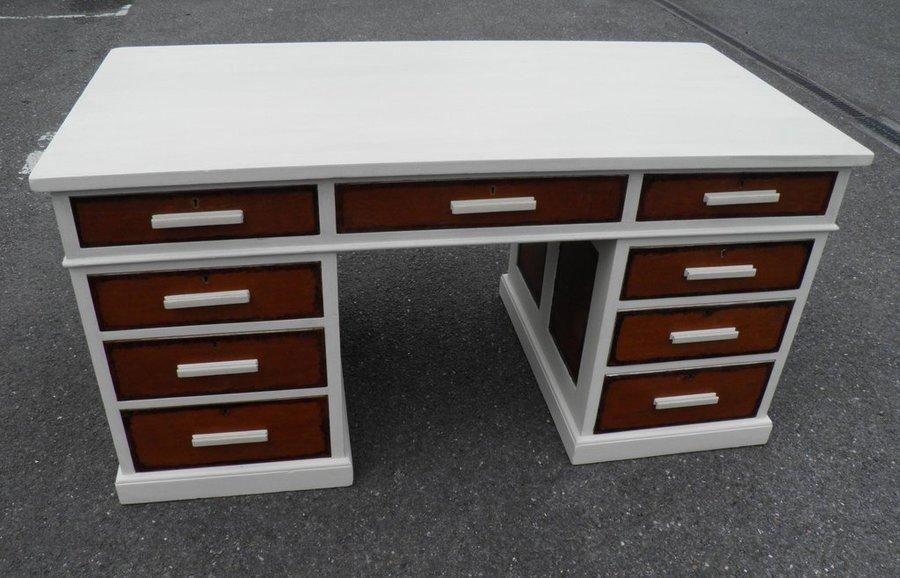 Art Deco 1940's Partners Pedestal Desk