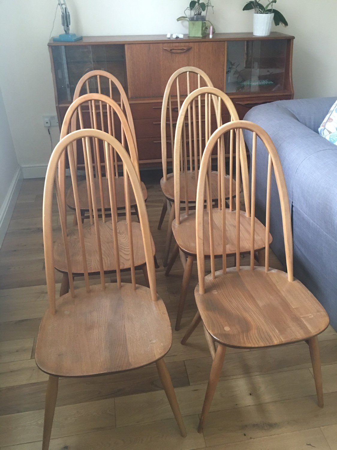 4 X Ercol 365 Windsor Elm Dining Chairs Mid Century Modern Original