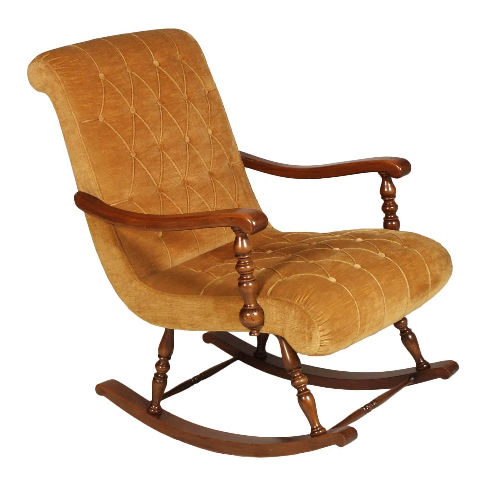 Phenomenal Midcentury Modern Velvet Capitone Italian Original Rocking Chair In Walnut Frame Gmtry Best Dining Table And Chair Ideas Images Gmtryco