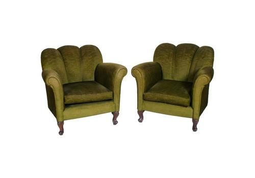 1930s Art Deco Pair Of Armchairs Green Velvet Attributable To Guglielmo Ulrich