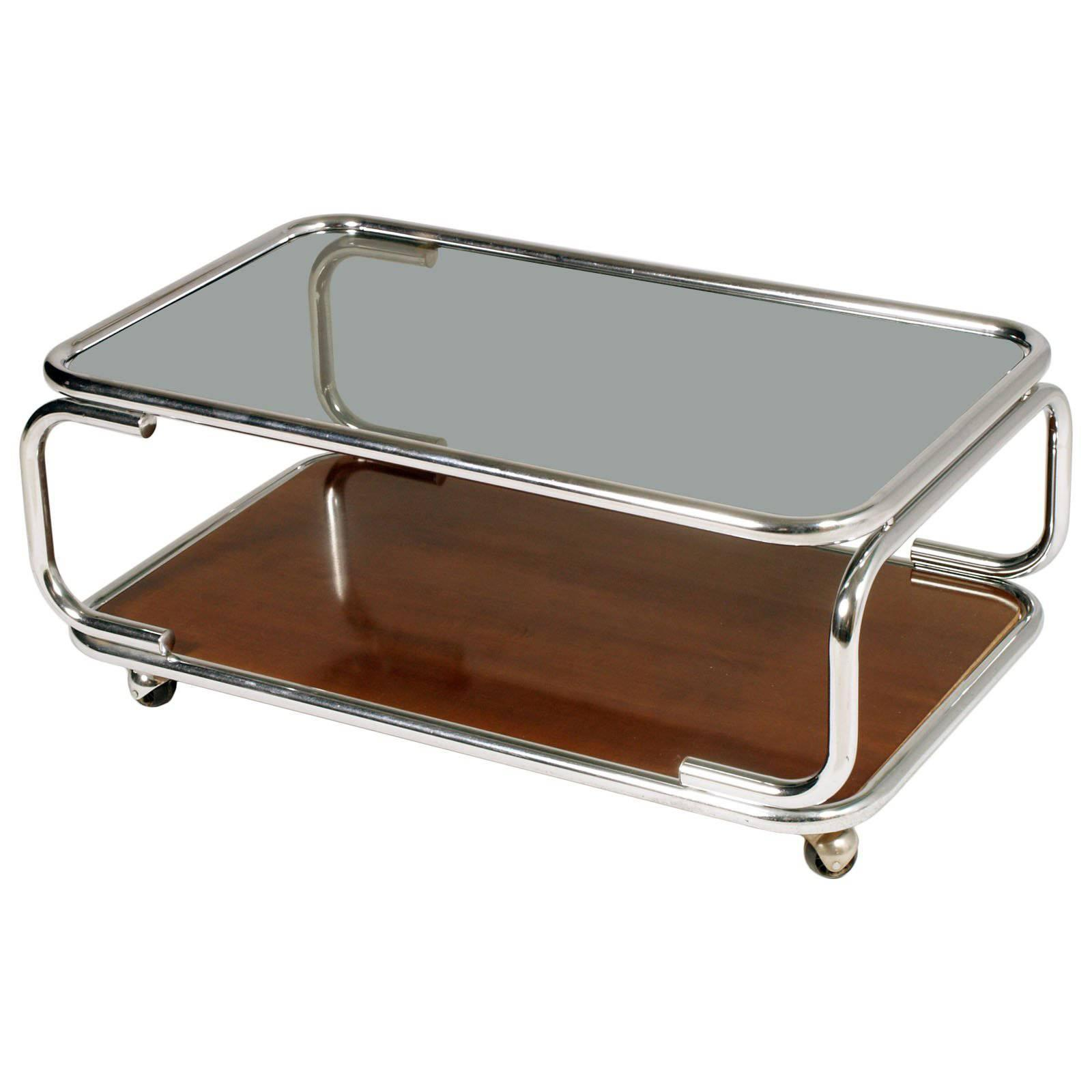 Trolley Coffee Table.1960s Chrome Serving Trolley Coffee Table Smoked Glass Top Faux Laminated Wood