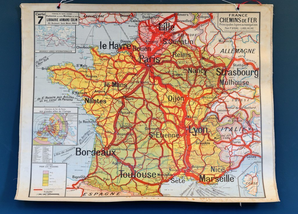 Map Of France In French.French Double Sided School Railways Map Of France