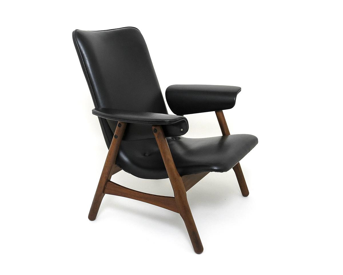 Modern Highback Chair Design Louis Van Teeffelen 60s 70s Teak Dutch