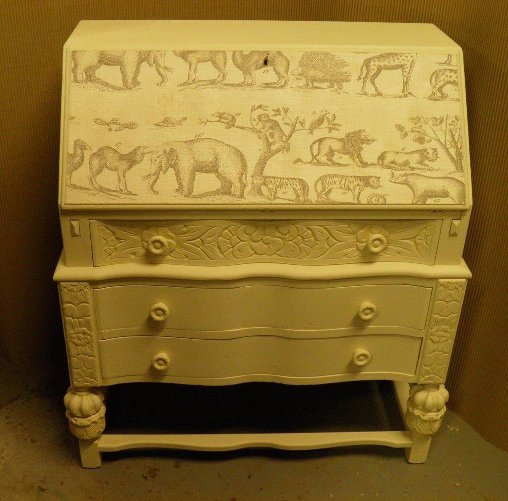Vintage Shabby Chic Bureau With Andrew Martin Fabric Decoration