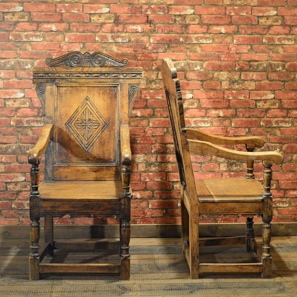 Antique Pair Of C19th Baronial Carver Chairs