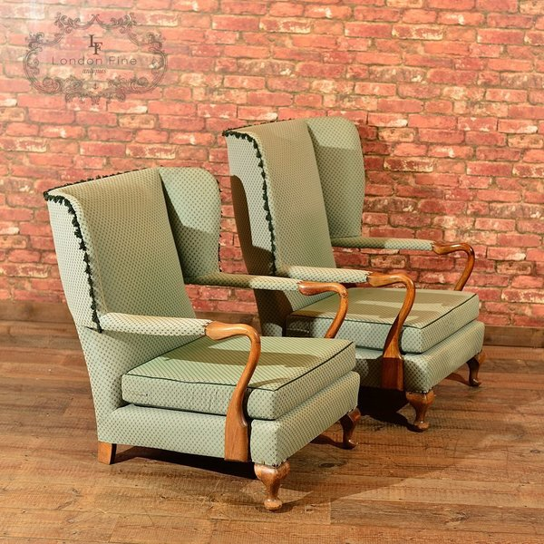 Pair Of Mid Century Wing Back Chairs photo 1