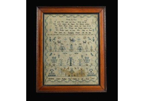 George IV English Embroidered Needlework Tapestry Sampler By Elizabeth Castle