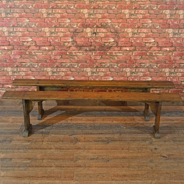 Victorian Pair Of Pine Benches, C.1900