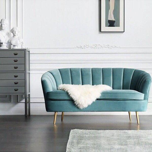 Mid Century Modern. Art Deco. Scalloped Backrest Arm Velvet Chesterfield  Love Seat Teal Blue Sofa Chair Brass Legs. New Handmade.