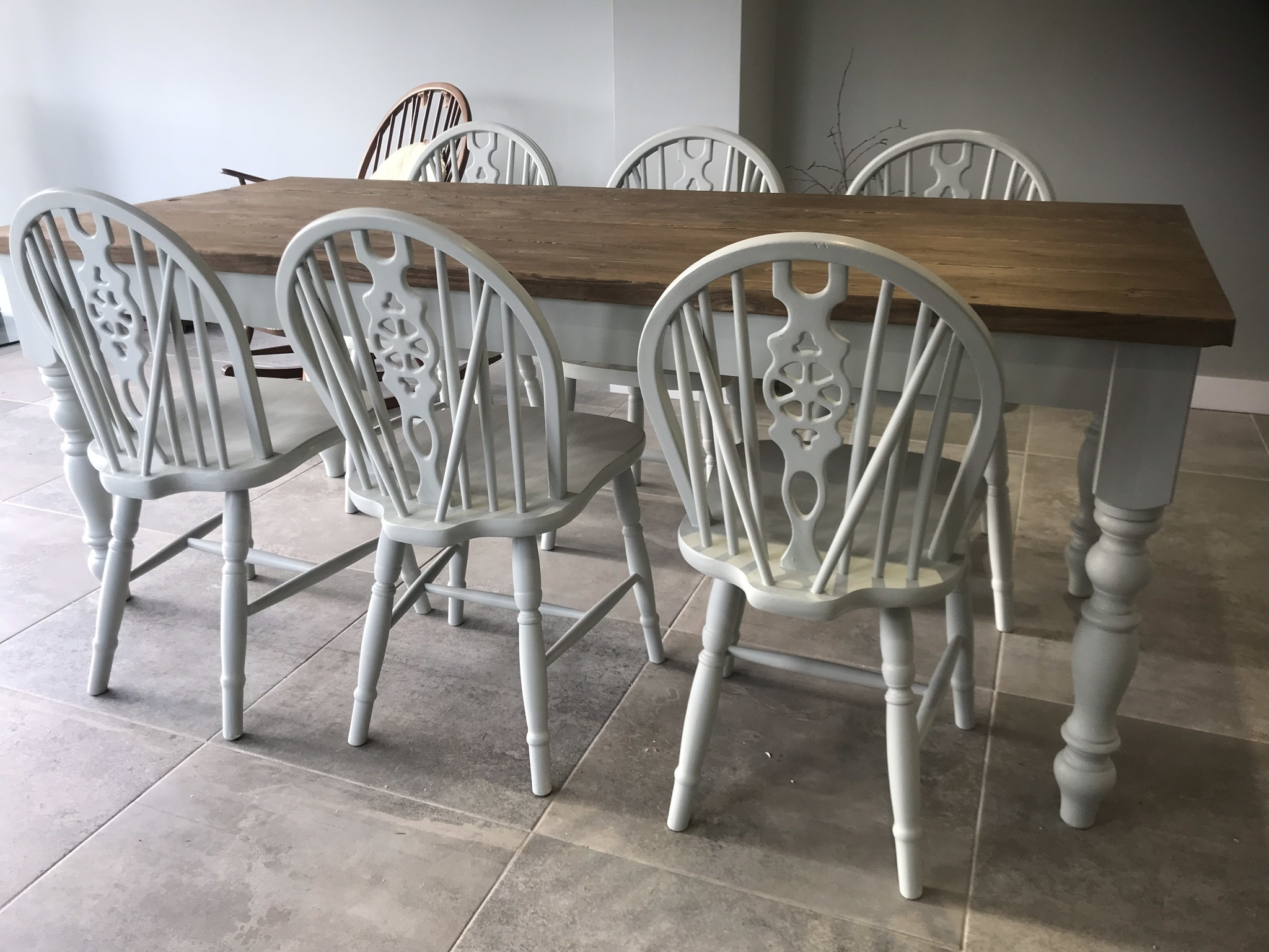 Handcrafted Scaffold Dining Table And Six Chairs Seats 8