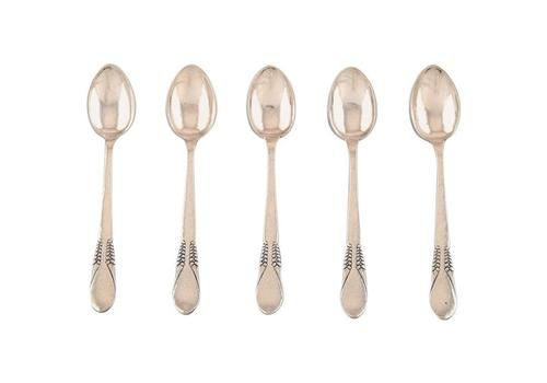 Danish Silver, Five Teaspoons, Stamped Cfh Christian Fr. Heise. 1910 1920s