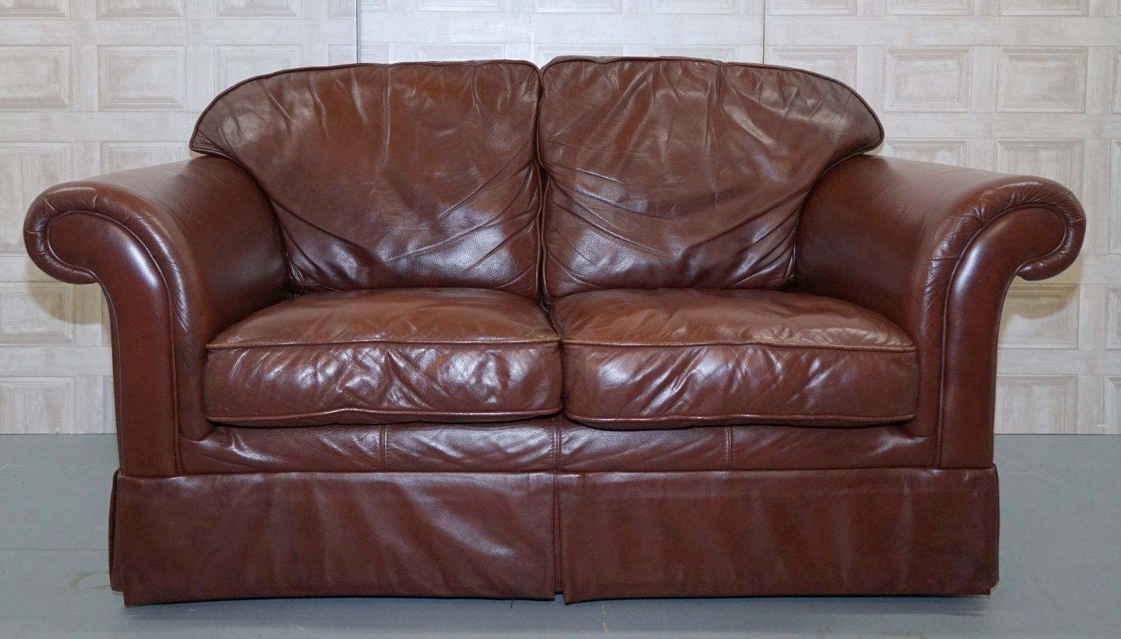 Laura Ashley Brown Leather Sofa In Very Good Condition