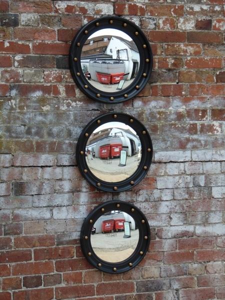 Trio Of Vintage Butlers Porthole Convex Mirrors